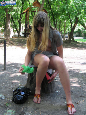Longhaired Russian girl takes a dildo..
