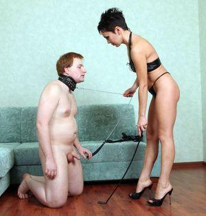 Two women fuck bondaged guy in hot..