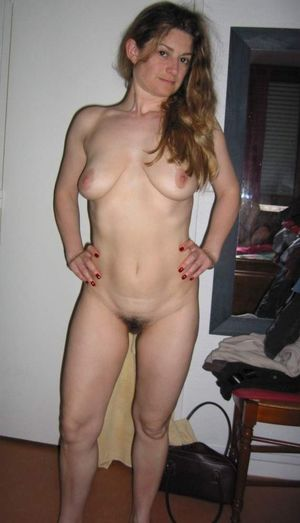 Amateur housewife with hairy twat..