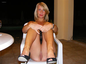 Blonde housewife mature lady striking..
