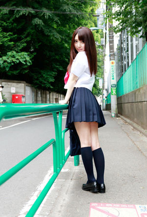 Yoshiko Suenaga Sexy Schoolgirl Outfit..