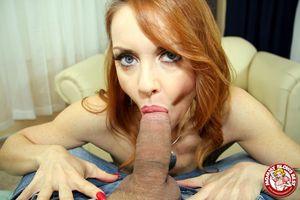 Redhead Milf mom Janet Mason sucks big..