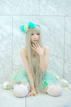 Cosplay girl blue clothes korean -..