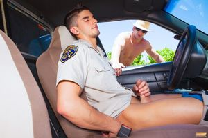 Police man Jerking off in his car -..