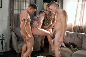 Rough threesome bareback gangbang