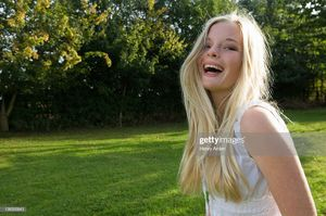 Teenage Girl Laughing Outdoors Stock..