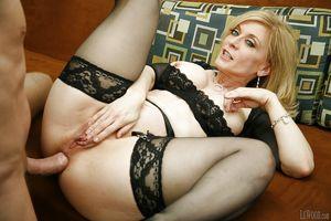Good mature pornstar in stockings Nina..