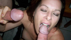 Mature woman gives blow job