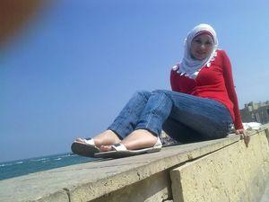 spain beach for arab tourist girl..