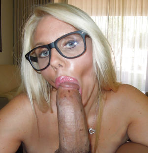 Milf with glasses giving a blowjob -..