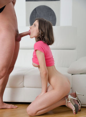 Petite brunette on her knees