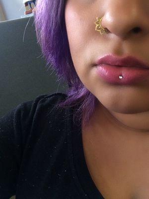 Violet hair. Inverse vertical labret...