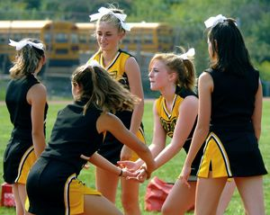 Sexy young girls cheerleaders during..