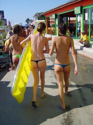 Sexy bikini girls on streets of..