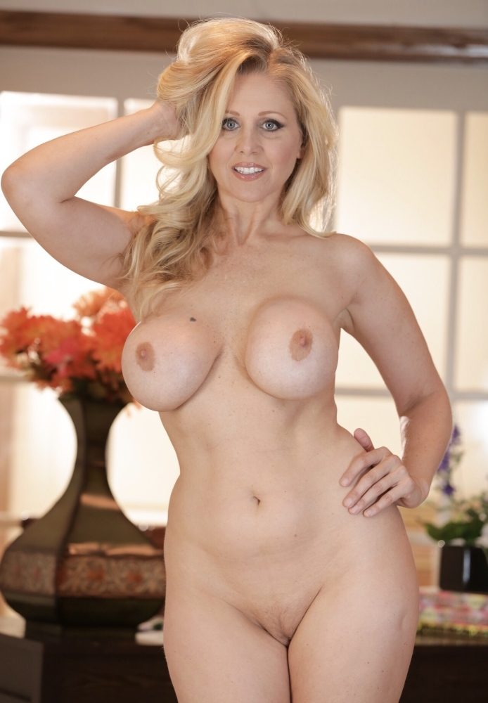 Sexy Blonde Female Julia Ann Works Her Way Of Red Dress For Nude Coed Cherry 1